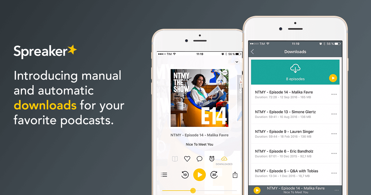 Listen to podcasts offline with Spreaker Podcast Radio for iOS' new